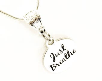 Anxiety Jewelry Gifts for Him | Silver Jewelry Gifts for Her Anxiety Reminder Just Breathe Necklace