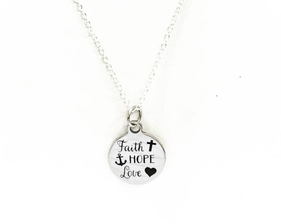 Christian Jewelry, Faith Hope Love Necklace, 1 Cor 13 Scripture Necklace, Gift For Daughter, Scripture Jewelry, Love Jewelry Gift For Her
