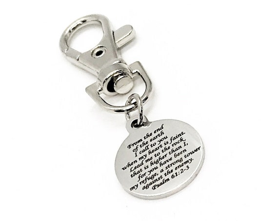 Scripture Gift, The Lord Is My Refuge Clip On Charm, Psalm 61 2 and 3, Scripture Quote, I Call To You When My Heart Is Faint, Bible Verse