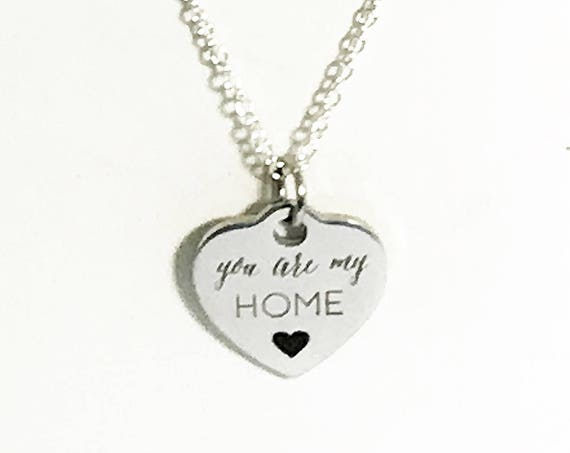 You Are My Home Necklace, Mom Necklace, Mom Jewelry, Wife Necklace, Wife Jewelry Gift, Heart Charm Necklace, You Are My Home Jewelry