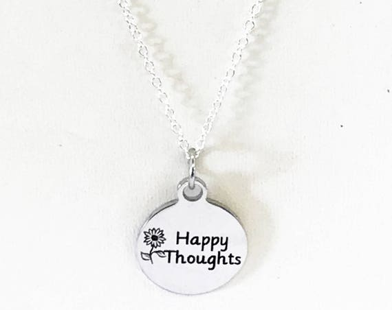 Happy Thoughts Minimalist Necklace, Encouragement Gift, Thinking Of You, Happy Gifts, Sympathy Gift, Encouraging Gift, Motivating Jewelry