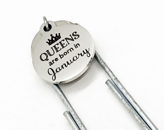 Queen Gift, Queen Are Born In Bookmark, Queen Birth-month, Paperclip Bookmark, Charm Bookmark, Wife Gift, Girlfriend Gift, Planner Bookmark