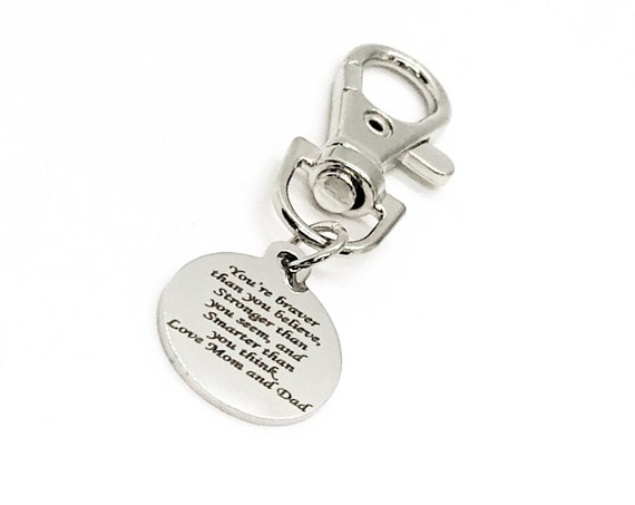 Braver Stronger Smarter Charm, Love Mom And Dad, Son Gift, Daughter Gift, Love Gift, Graduation Gift, New Car Gift, Bag Charm, Gift For Her