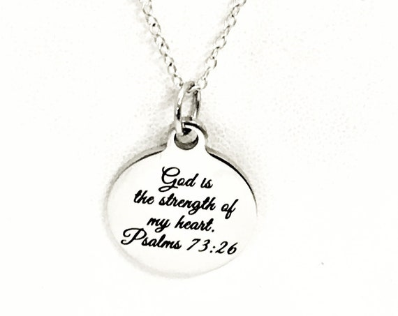 Christian Jewelry, God Is The Strength Of My Heart Necklace, Scripture Jewelry, Christian Gift, Bible Verse Jewelry, Christian Necklace Gift