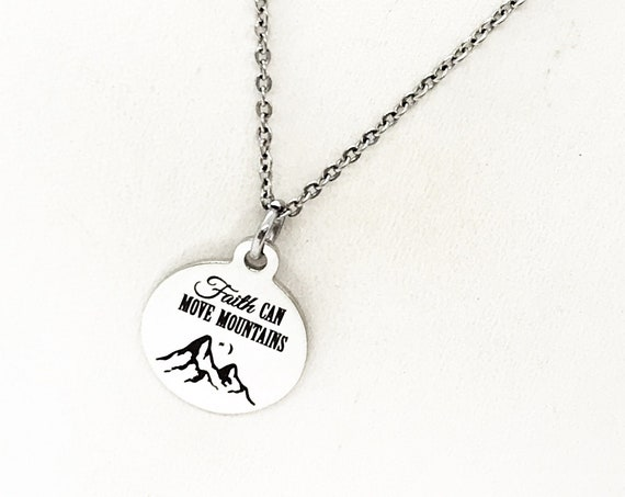 Faith Gift, Faith Can Move Mountains Necklace, Matthew 17 20 Gift, Scripture Gifts, Mountain Moving Faith, Christian Gifts, Faith Jewelry