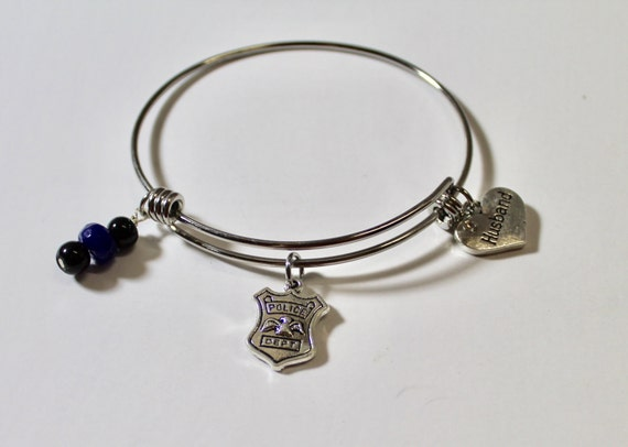 Police Mom Expanding Charm Bangle Bracelet, Police Wife, Gift For Mom, Black and Blue, Thin Blue Line Gift, Girlfriend Gift, Valentine Gift