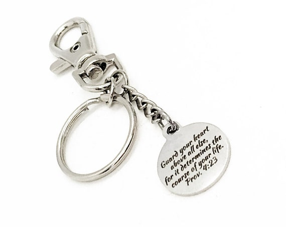 Prayer Gift, Guard Your Heart Keychain, Proverbs 4 23, Christian Gifts, Graduation Gift, Baptism Gift, Christian Keychain, Faith Quote