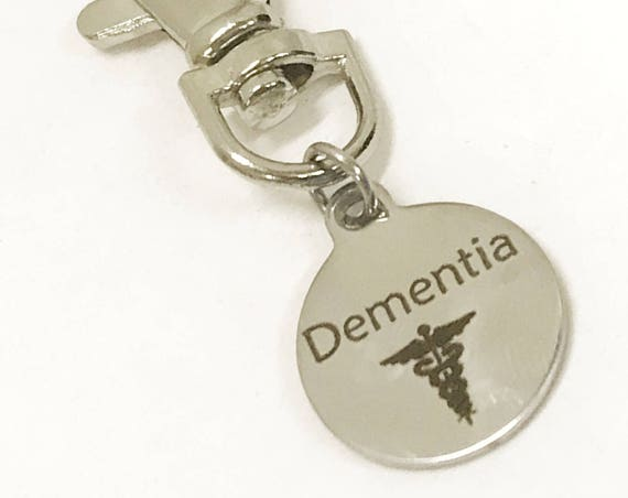 Dementia Zipper Pull, Dementia ID Tag, Dementia Medical Awareness Zipper Pull, Dementia Items, Dementia ID Zipper Pull, Medical ID Tag
