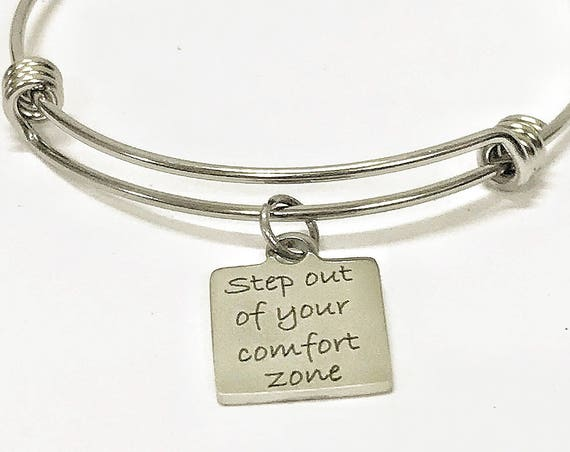 Motivational Jewelry, Step Out Of Your Comfort Zone Stacking Bangle Bracelet, Moving Forward, Expanding Bracelet Gift, Entrepreneur Gift