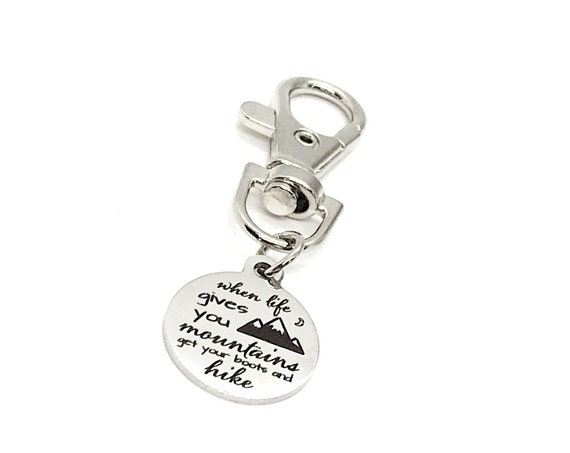 Motivating Gift, When Life Gives You Mountains, Get Your Boots And Hike Charm, Encouragement Gift, Motivating Quote, Encouraging Quote