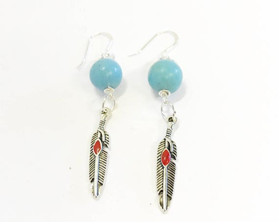 Turquoise and Red Dot Feather Drop Earrings, Southwestern Style Jewelry, Dangle Earrings Gift For Her, Country Western Wife Jewelry Gift