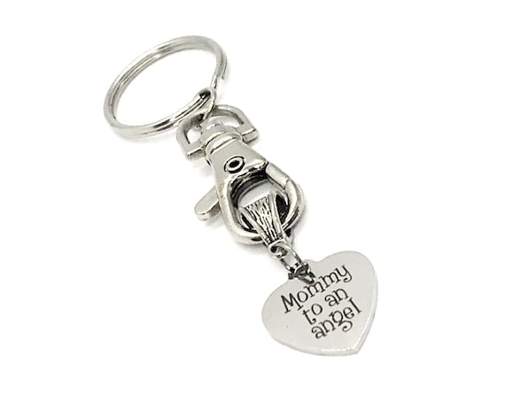Miscarriage Gift, Mommy To An Angel Keychain, Miscarry Memorial Gift, Infant Loss Gift, Pregnancy Loss Gift, Mom to An Angel, Baby Loss