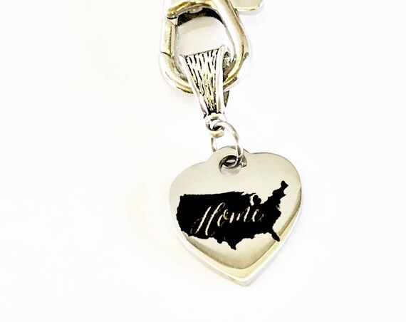 Patriotic Gifts, Patriotic Keychain, My Heart And Home Is In The USA Keychain, USA Pride, USA Proud, American Pride, America Proud, Military