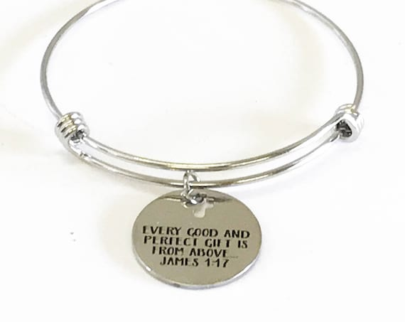 Every Good And Perfect Gift Is From Above Expanding Bangle Charm Bracelet Gift, James 1:17 Scripture Jewelry Sunday School Gift for Her