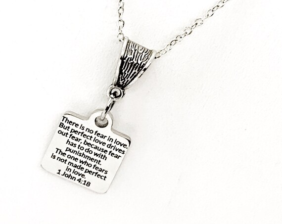 There Is No Fear In Love Necklace, 1 John 4 18 Necklace, Scripture Necklace, Scripture Gift, Bible Verse Quote, Bible Verse Jewelry