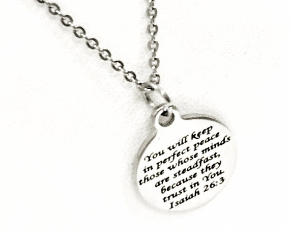 Christian Jewelry, Perfect Peace Necklace, Isaiah 26 3 Gift, Christian Woman, Christian Daughter Jewelry, Religious Gift For Her