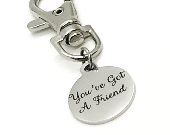 Bag Charm, You've Got A Friend Bag Clip On Charm, Friendship Gift, Friendship Charm, Keychain Charm, Keychain Clip, Purse Charm, Friend Gift