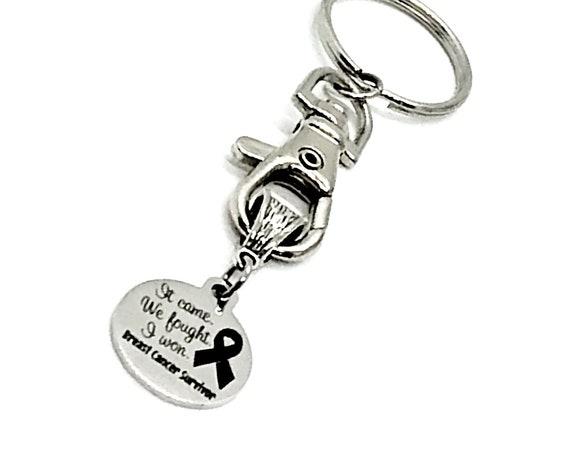 Keychain Gift, Breast Cancer Survivor Keychain, It Came, We Fought, I Won, Breast Cancer Survivor, Cancer Remission Gift