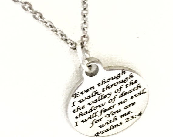 Scripture Jewelry, 23rd Psalm Jewelry, Scripture Necklace, Scripture Charm, I Will Fear No Evil Necklace, Daughter Jewelry Gift