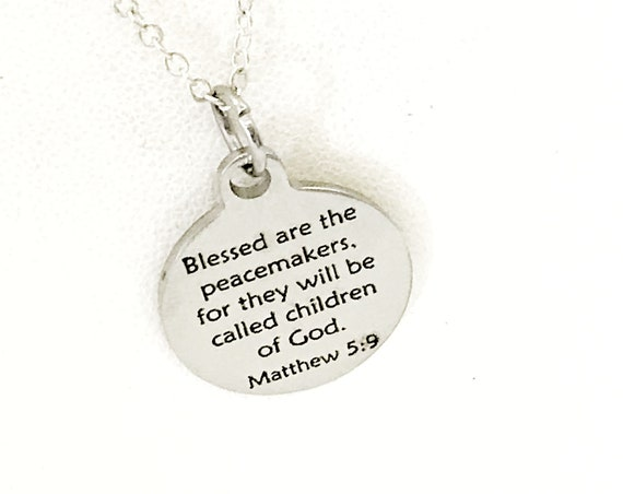 Christian Necklace, Blessed Are The Peacemakers Necklace, Christian Gift, Christian Police Officer Gift, Beatitudes Jewelry, Peacemaker Gift