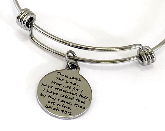 Christian Gift, God Has Redeemed Us Bracelet, Isaiah 43 1 Bible Quote, We Are His, Expanding Charm Bangle Bracelet, Scripture Gift