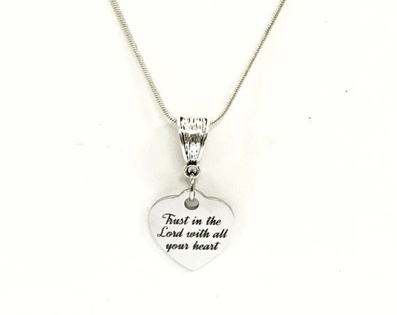 Trust In The Lord With All Your Heart Necklace, Christian Jewelry Gift, Christian Gifts, Daughter Jewelry, Baptism Gift, Confirmation Gift