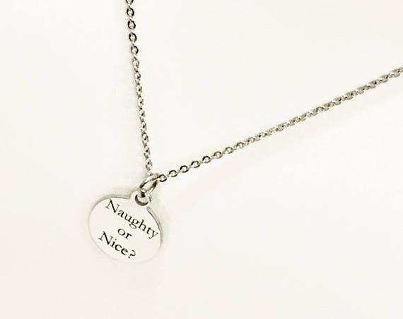 Naughty Or Nice Necklace, Naughty Or Nice Jewelry, Christmas Necklace, Christmas Jewelry, Naughty Or Nice Girlfriend Gift, Naughty List