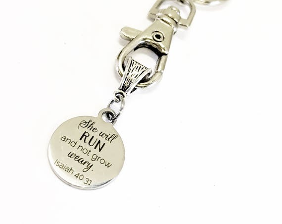 Scripture Gifts, Bible Verse Gifts, She Will Run And Not Grow Weary Keychain, Isaiah 40:31 Gift, Busy Mom Gift, Working Mom Gift For Her