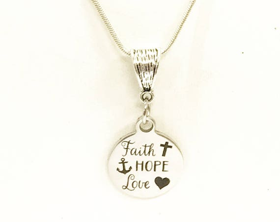 Faith Hope Love Necklace, 1 Cor 13 Scripture Necklace, Bible Verse Jewelry, Gift For Daughter, Scripture Jewelry, Love Jewelry Gift For Her