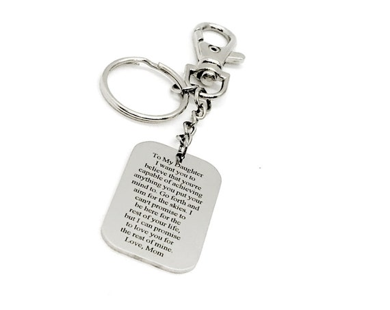 Daughter Gift, To Daughter From Mom, Aim For The Skies, You Are Capable Of Anything, Love Mom, Clip On Keychain, Daughter Encouragement Gift