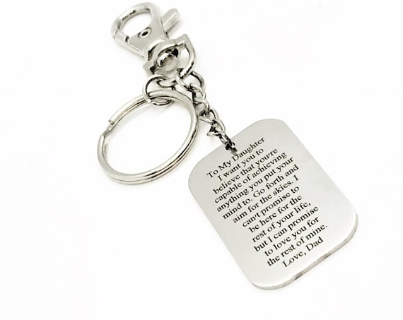 Daughter Gift, To Daughter From Dad, Aim For The Skies, You Are Capable Of Anything, Love Dad, Clip On Keychain, Daughter Encouragement Gift