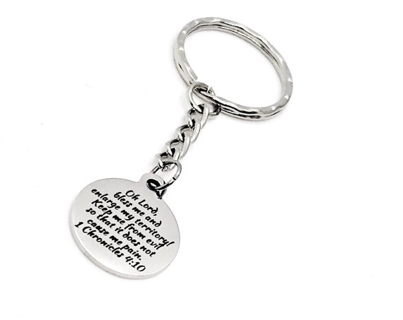 Scripture Quote, Jabez Prayer Keychain, 1 Chron 4 10 Charm, Jabez Quote, Expand My Territory, Keep Me From  Evil, Christian Prayer Gift