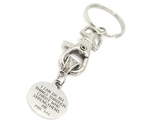 Scripture Gift, I Can Do All Things Through Christ Who Strengthens Me Keychain, Philippians 4 13, Scripture Quote, Bible Verse Gift