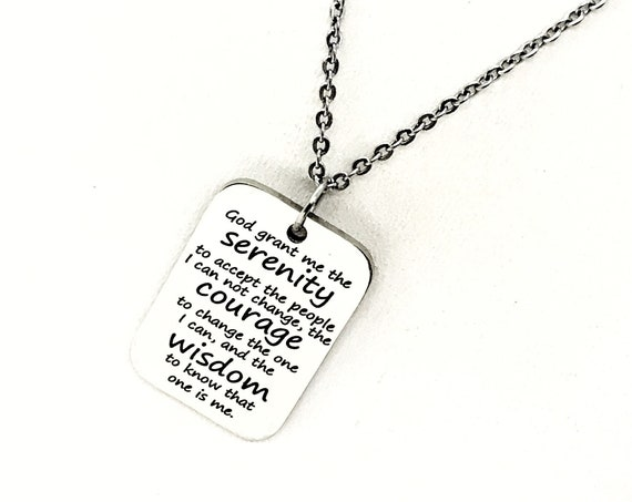 Serenity Prayer, Serenity Necklace, Serenity Courage Wisdom, Wisdom To Change Me, Motivating Gift, Motivating Quote, Encouragement Gift
