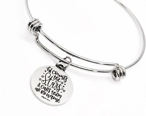Faith Gift, He Counts The Stars And Calls Them All By Name Bracelet, Charm Bracelet, Faith Jewelry, Christian Gift, Psalm 147 4 Charm, C584