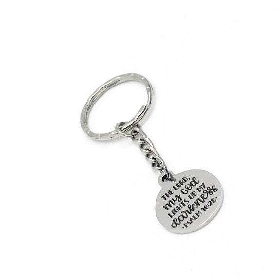 Scripture Gift, The Lord My God Lights Up My Darkness, Psalm 18 28 Keychain, Charm Keychain, Christian Gift, Scripture Quote
