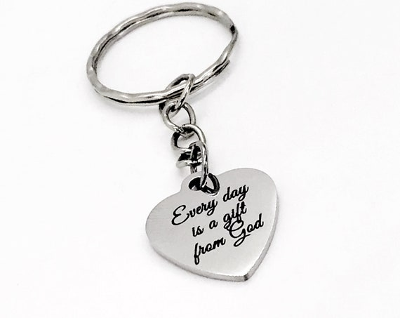 Christian Gift, Every Day Is A Gift From God Keychain, Christian Keychain, Christian Scripture Gift, Keychain Gift, New Beginnings