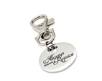 Faith Gift, Always Rejoice Clip On Charm, Philippians 4 4 Charm, Scripture Gifts, Faith Charm, Rejoice In The Lord, Bible Verse Gifts