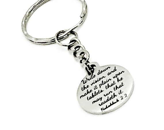 Bible Verse Keychain, Write Down Your Vision Keychain, Scripture Keychain, Bible Verse Charm, Habakkuk 2 2 Bible Verse, Motivational Quote