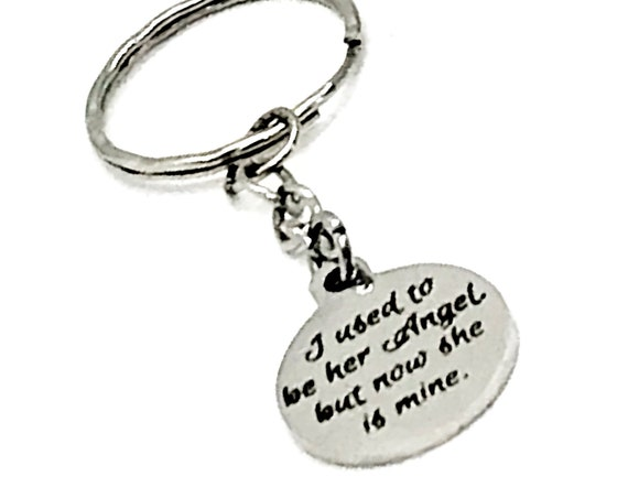 Memorial Keychain, I Used To Be Her Angel But Now She Is Mine Keychain, Remembering Mom, Charm Keychain, Remembering Grandma, Memorial Gift