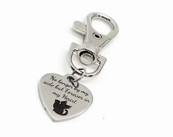 Cat Memorial, No Longer By My Side But Forever In My Heart Keychain Charm, Cat Loss Gift, Cat Mom Gift, Back Pack Charm, Cat Loss Memorial