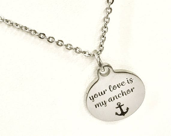 Love Necklace, Your Love Is My Anchor Necklace, Love Gift, Wife Jewelry Valentine Gift, Girlfriend Jewelry Gift, Wife Necklace, Mom Necklace