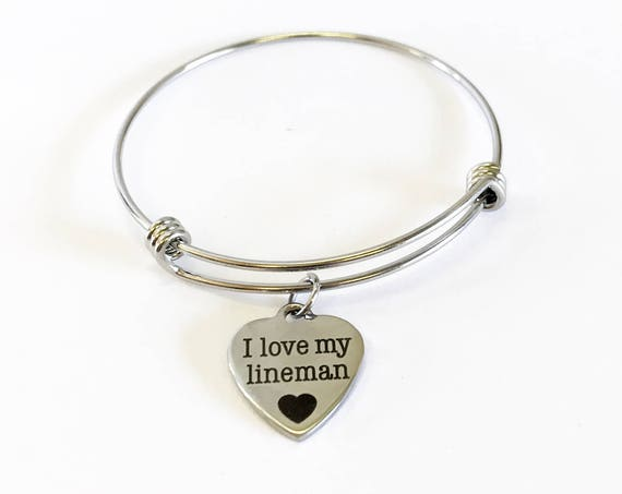 I Love My Lineman Stacking Expanding Bangle Charm Bracelet, Lineman Wife Jewelry Gift, Lineman Daughter Jewelry, Lineman Girlfriend Gifts
