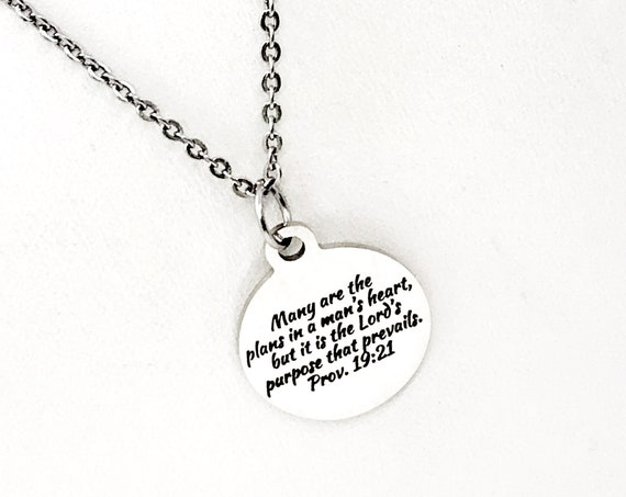 Scripture Gift, The Lord's Purpose Prevails Necklace, Proverbs 19 21 Charm, Scripture Necklace, Bible Verse Gift, Bible Verse Jewelry Gift