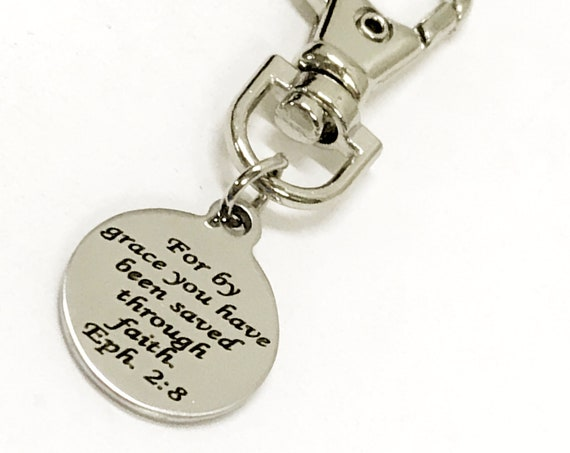 Christian Gifts, Christian Purse Charm, Bible Verse Charm, Saved By Grace Through Faith, Baptism Gift, Scripture Gifts, Christian Charms