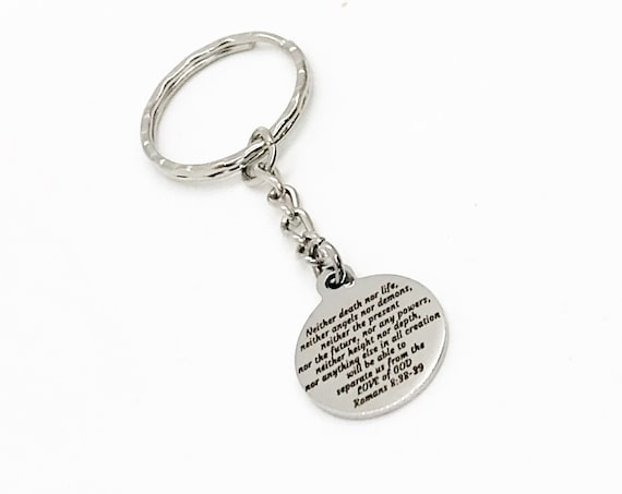 Scripture Gifts, Nothing Separates Us From The Love Of God Keychain, Romans 8 38 39, Scripture Quote, Bible Verse Quote, Bible Verse Gift