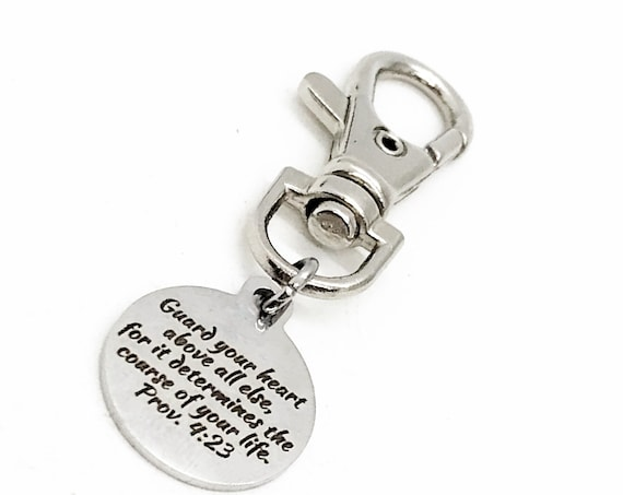 Bag Charm, Guard Your Heard Charm, Proverbs 4 23, Purse Charm, Clip On Charm, Keychain Charm, Faith Gift,  Christian Gift, Christian Charm