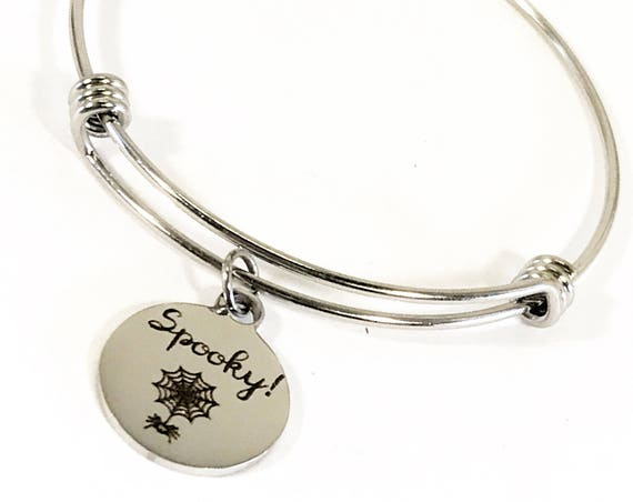 Spooky Stacking Bangle, Halloween Jewelry, Halloween Bracelet, Spider Web Jewelry, Spider Web Bracelet, Fun Spooky Jewelry, Spooky Gifts