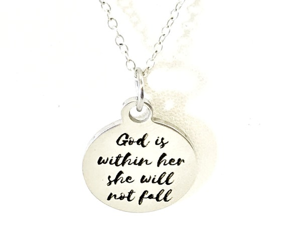 Christian Jewelry, God Is Within Her She Will Not Fall Necklace, Christian Woman, Christian Daughter Jewelry, Psalm 46 5 Scripture Jewelry