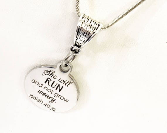 Scripture Jewelry Gift, She Will Run And Not Grow Weary Silver Necklace Gift, Isaiah 40:31 Necklace, Busy Mom Gifts, Busy Woman Gift For Her